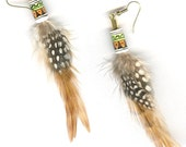 Natural feather earrings with Peruvian bead short or medium