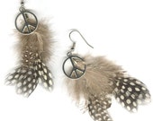 Natural feather earrings with peace sign short or medium