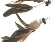Double dangle feather earrings agate fox