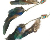 Double dangle feather statement earrings turquoise coral Nepal inlay