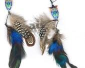 Double dangle feather earrings Chinese cloisonne enamel owl