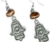 Pewter Hamsa earrings with gemstone