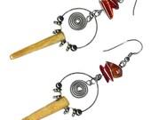 Serpentine spike carnelian long hoop earrings oxidized spiral