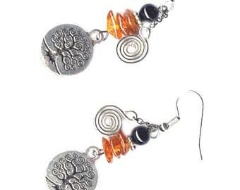Tree of Life earrings pewter, obsidian, amber