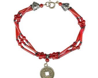 Chinese coin prosperity bracelet red beads