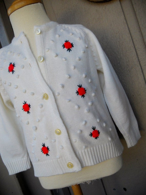 Girls White  Sweater with Red Roses size 3