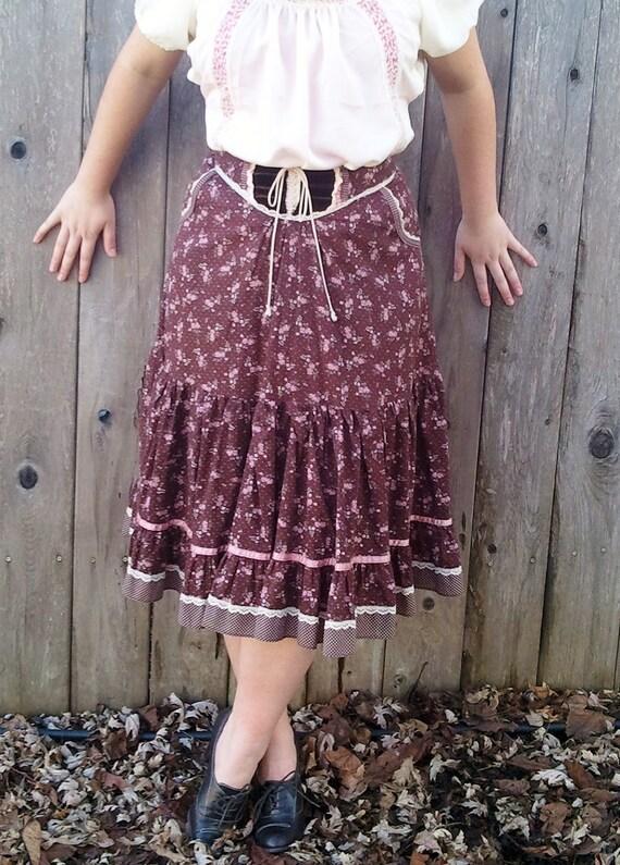 Vintage Brown Gunne Sax Prairie Skirt