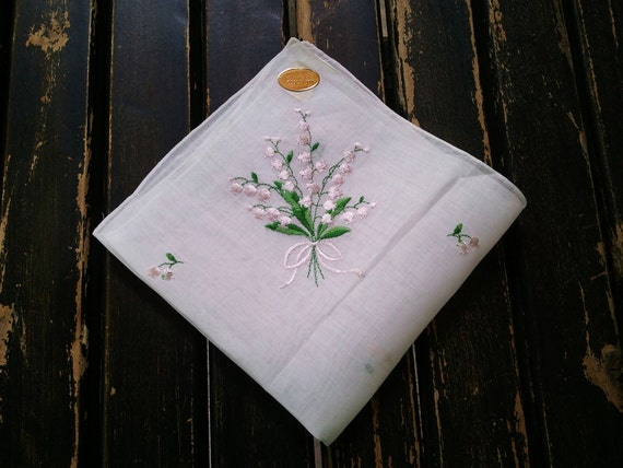 1950's White Cotton Linen Handkerchief with Embroidery Floral Design- Brand New