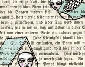 CURIOUS AFTERNOON--Original Ink Illustration on Vintage Paper--DeadpanAlley