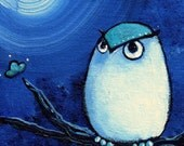 OLLIE--signed Print of an Original Acrylic Owl Painting--Deadpan Alley