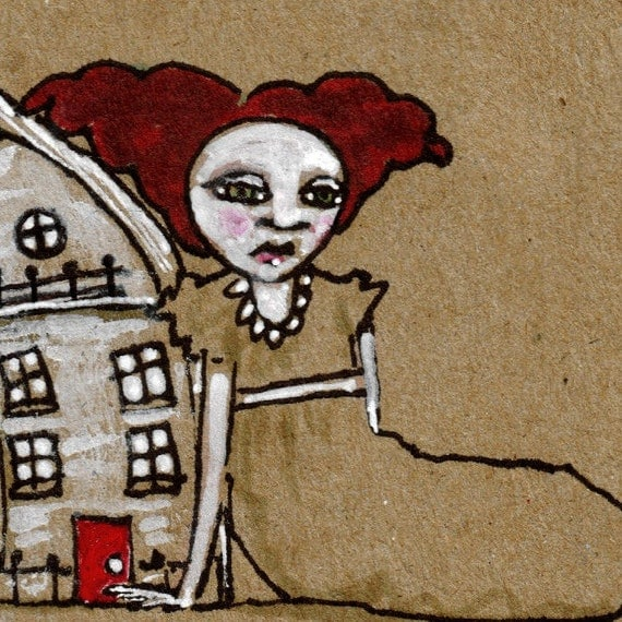 AFTER HANGING THE MOON--ORIGINAL Ink Illustration on Recycled Paper--DeadpanAlley