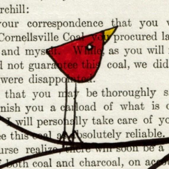 Thoroughly Satisfied -- Original Ink Bird Illustration on Vintage Paper -- DeadpanAlley --