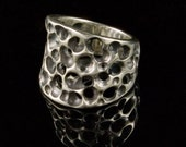 Tapered Sponge Wide Sterling Silver Ring