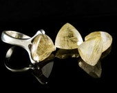 Rock in Paws Ring, Sterling Silver Prong Set Trillion Faceted Golden Rutilated Quartz Gemstone Ring