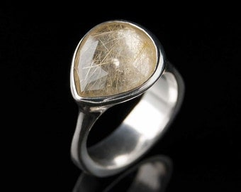 Pear Rose Cut Golden Rutilated Quartz Ring, Size 7 Sterling Silver Ring