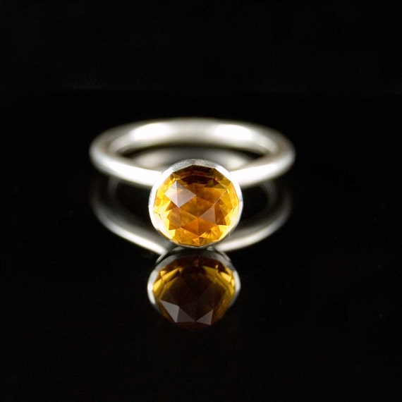 SALE Citrine Bullet Sterling Silver Gemstone Stacking Ring, size 6.5 to 7