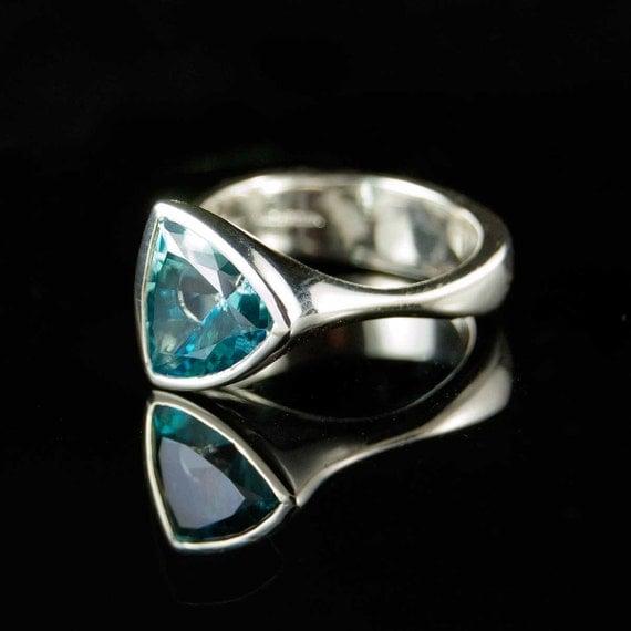Ice Tetra Sterling Silver Ring with Teal Blue Topaz Gemstone Ring
