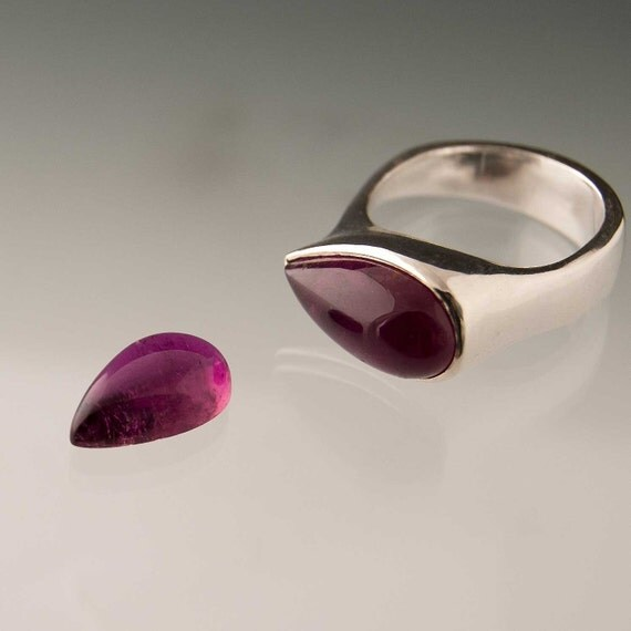 Pear Purple Pink Tourmaline Tetra Ring, made to order Cocktail Ring