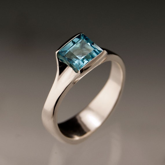 Princess Cut Sky Blue Topaz Fold Ring in Sterling Silver Gemstone Ring