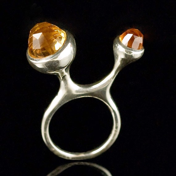 SALE Bonny and Clyde, Sterling Silver Ring with Faceted Citrine Bullets, size 5.5 to 6 - Ring Sculpture - wearable art
