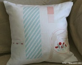 Parts of Sweet Tea Table Illustrated Linen Pillow Case(Cover, Slip) - Light Blue Tone