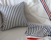 Marine Navy Striped Cotton Pillow Case(Cover, Slip)