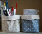 A Set of Two Mini Fabric Baskets - Natural Color Cotton Canvas and Pastel Blue Tone Dot Pattern Linen