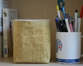 Mini Fabric Basket - Natural Color Cotton Canvas and Floral Mustard Linen