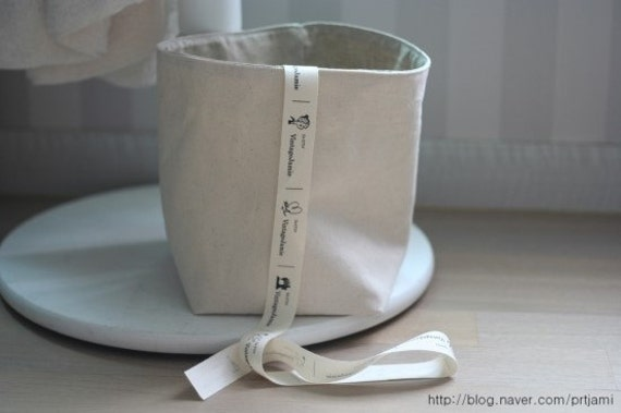 Soft Fabric Basket - Natural Color Cotton Canvas and Oatmeal Linen