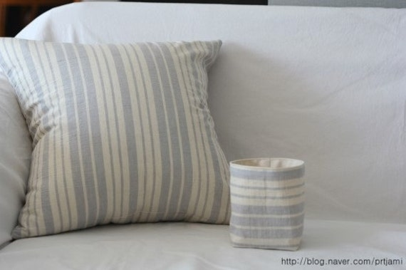 Soft Creamy Striped Linen Pillow Case(Cover, Slip) - Light Blue Grey