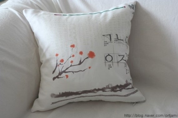 Korean Traditional Pillows : Korea Tradition Theme Linen Pillow CaseCover Slip by VintageJamie