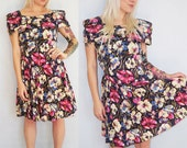 80's Floral Party Prom Dress S/M Roses Off The Shoulder