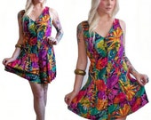80's Floral Romper S/M Neon Floral One Piece Shorts Mini Dress