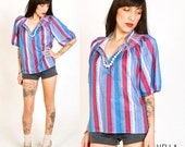 1970s Disco Boho Blue Pink Peasant Top S/M