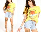 70's Yellow Jamaican Gold Rasta Beach Tee Shirt S/M Super Soft Beach Surfer Grunge T Shirt