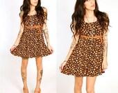 90's Sunflower Floral Mini Dress XS/S All That Jazz Black and Orange Floral Mini