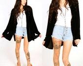 80's Black Velvet Long Sleeve Shirt M/L Oversized Crushed Velvet Open Front Button Up Jacket Duster Cape