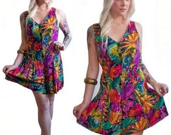80's Floral Romper S/M Neon Floral One Piece Shorts Mini Dress
