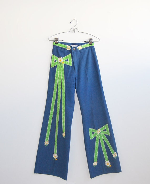 60's Bell Bottoms High Waisted XS Patchwork Bell Bottoms by Petit Fors