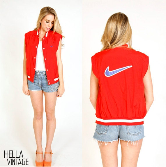 80's Red Nike Vest S/M Red White Blue Sporty Nike Button Up Lined Vest