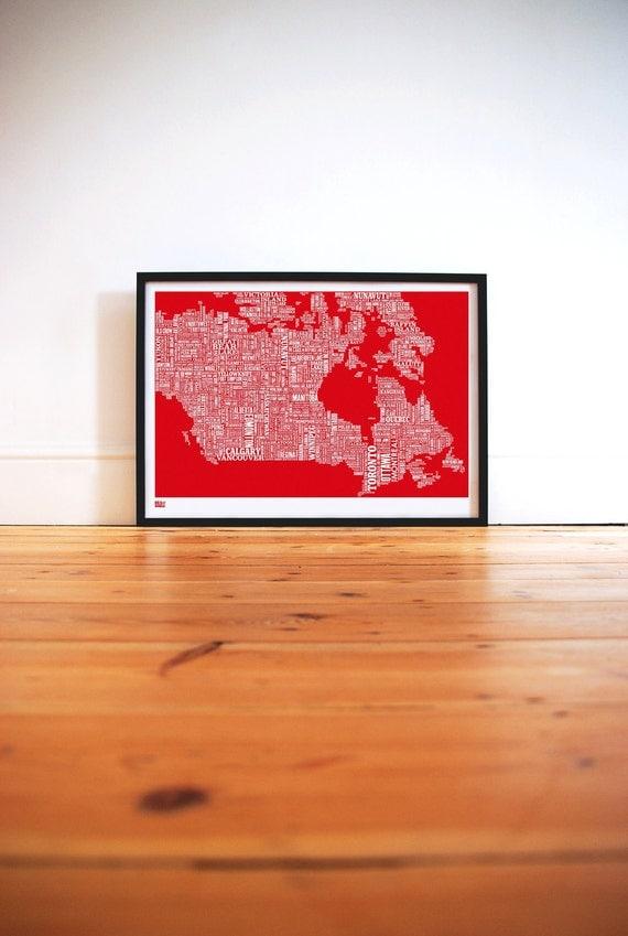 Canada Type Map - decorative screen print