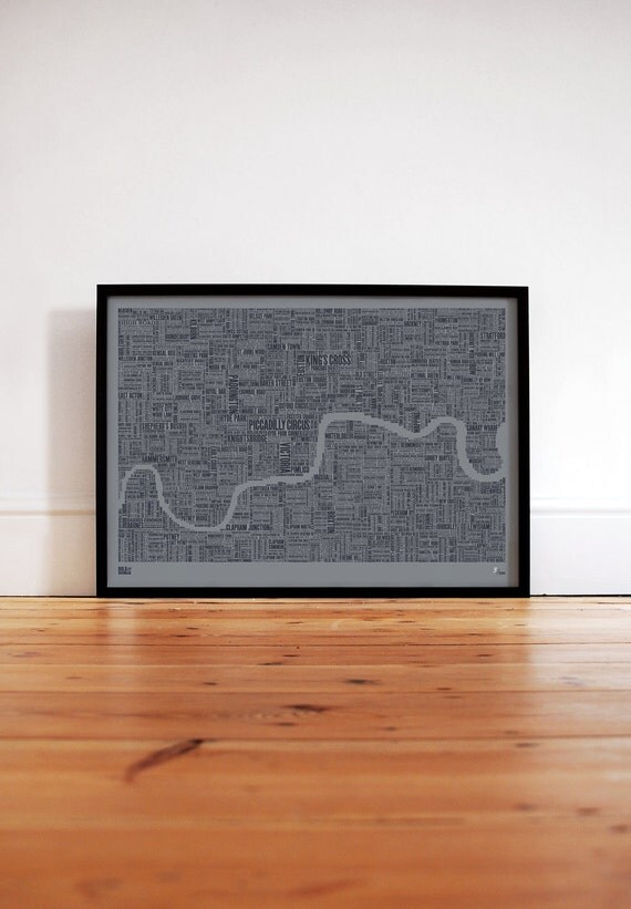 Limited Edition: London Type Map in Sheer Slate