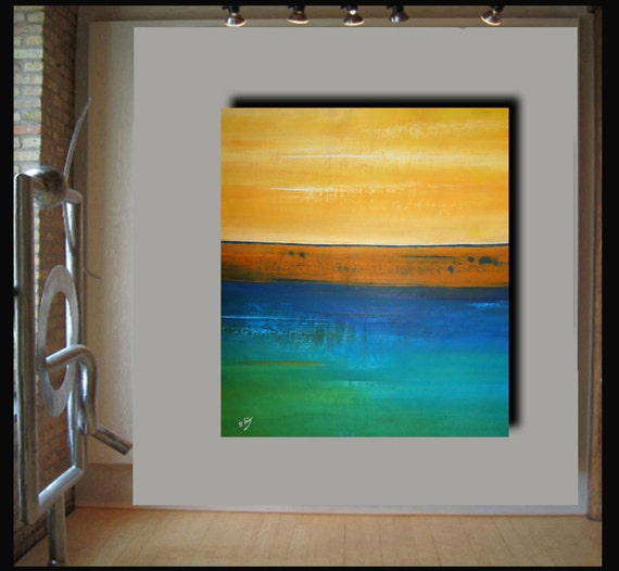 40x36  modern abstract landscape painting by Elsisy. Title: Simple romance.