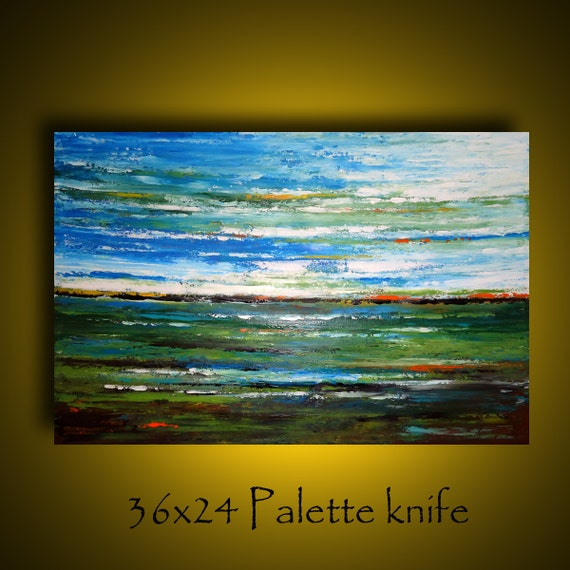 Sale. 36x24  palette knife abstract landscape painting by Elsisy. Title: Fallen