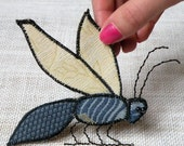 Handmade Fabric Insect Brooch - Textile Artisan Jewelry -  Bee Hieroglyph - Blue and Cream