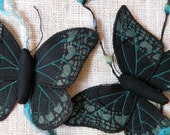 Handmade Fabric Butterfly Moth Ornament Textile Lepidoptera Black