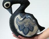 Fabric Bird  Swan / Black Linen / Minoan Bird