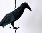 Soft Sculpture Textile Art Crow Raven Bird Fiber Art Sculpture Natural History Gift Bird Lover Gift Luxury Woodland Gift Edgar Allan Poe
