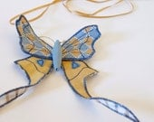 Soft Sculpture Moth Brooch / Tailed Saturniid / Upholstery Fabric and Satin / Light Blue and gold