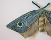 Upholstery Fabric Moth Blue and Green